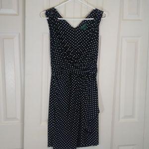 Ralph Lauren White Dot False Wrap Dress